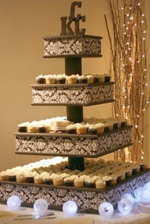 DIY cupcake stand -OK, so this isn't really a dollar store item and it is not really cheap (but cheap vs. having to buy a wedding cake or event decorated cake).  The best part is that it is made to switch out the fabric (2 X 4's slip out) for different events.