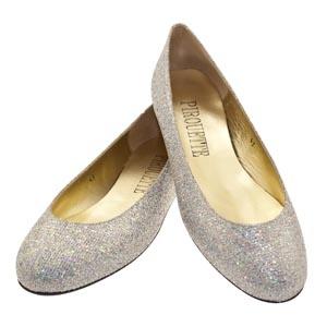 Silver sparkle flat wedding shoes