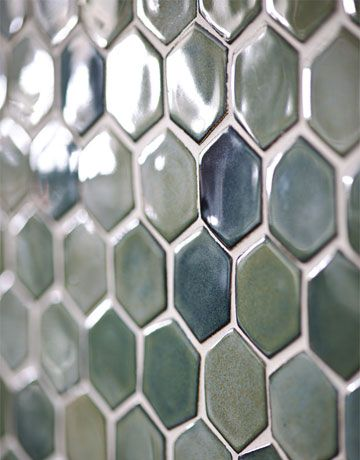 Close up of tile wall in dining area. Trikeenan Basics tile in Outer Galaxy from Urban Archaeology.  House Beautiful foto: James Merrell ~~~
