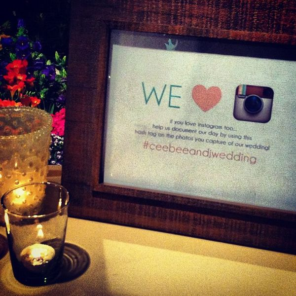 insta wedding - create a hashtag for all your wedding guests to use :)