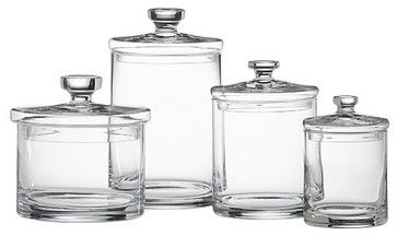 Set of 4 Glass Canisters - modern - bathroom storage - Crate