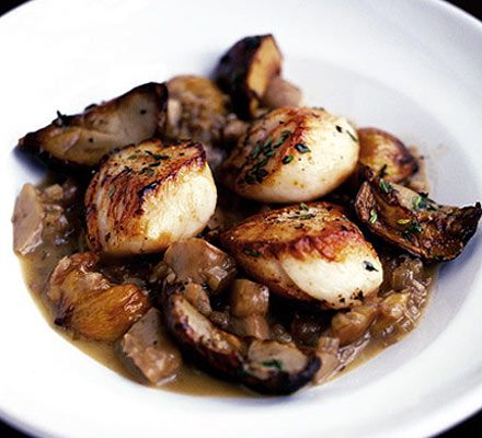Scallops with cep compote & chestnuts - am so going to do this with the basketful of slippery jacks sitting in my kitchen just now - yum