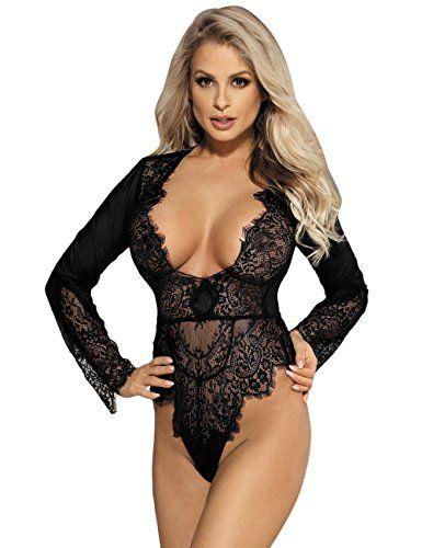 79da651638c Oliveya Womens Long Sleeves Sexy Lace Lingerie One Piece Teddy Deep V  Bodysuits