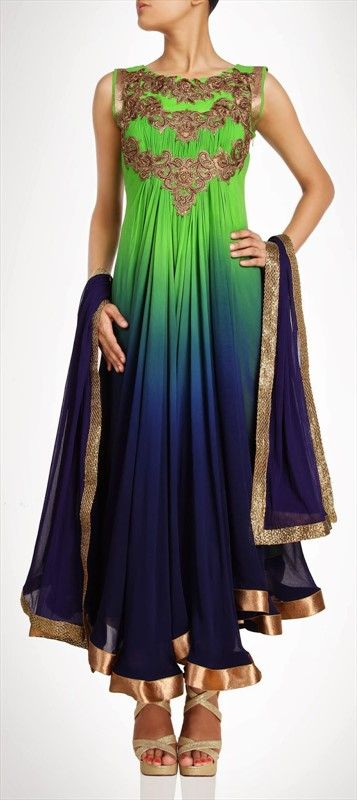 407900, Party Wear Salwar Kameez, Georgette, Stone, Bugle Beads, Sequence, Blue, Green Color Family