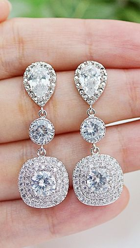 Luxe cubic zirconia bridal Earrings from @earringsnation