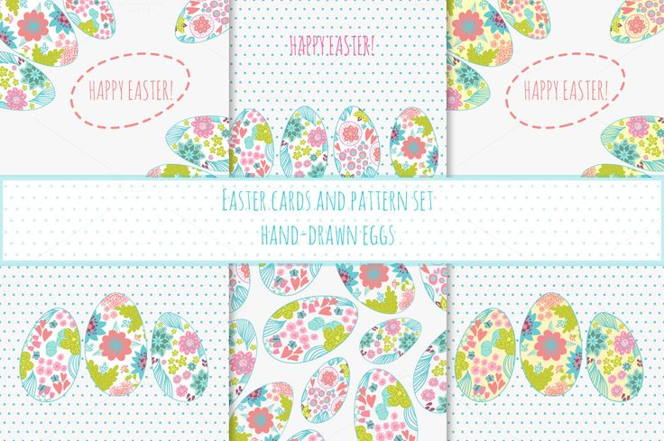 Easter cards set. Hand-drawn eggs. by odpium on Creative Market