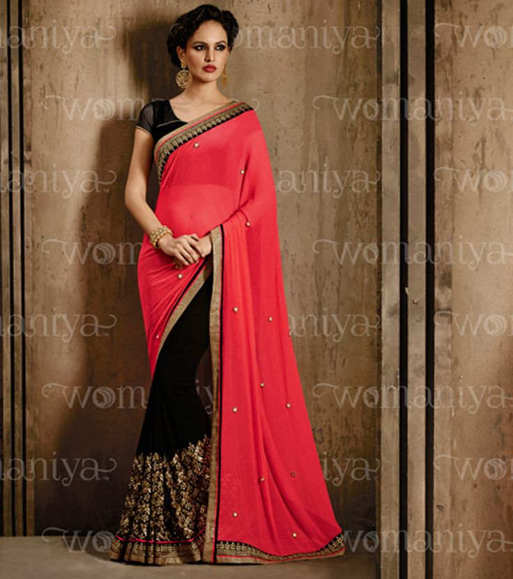$85.71 Pink Chiffon Half and Half Saree With Blouse 57920