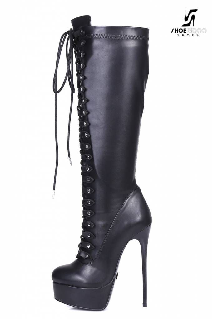 59faf085eeb Black lace up Giaro high 16cm heeled knee boots - Shoebidoo Shoes ...