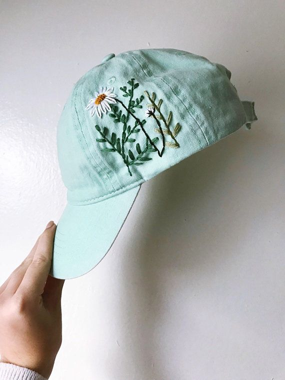 Wildflower Garden Baseball Cap Dad Hat In Mint Green Floral Embroidered Cap Plant Lady Gift Hiking Gift For Her Dad Hats Embroidered Cap Cap Embroidery