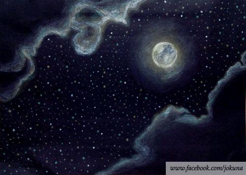 <달,별,구름,밤 / Full moon in full of stars, colored pencil, 2014>