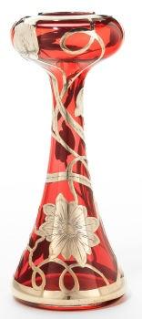 American Glass And Silveerr Overlay Vase - America   c.1900