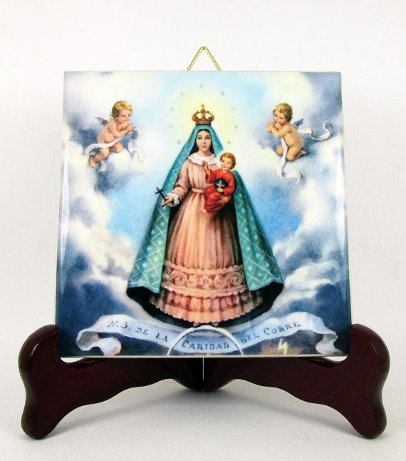 Our Lady of Charity of El Cobre - catholic wall art - religious gift - christian art - virgin mary icon - Virgen de la Caridad ceramic tile