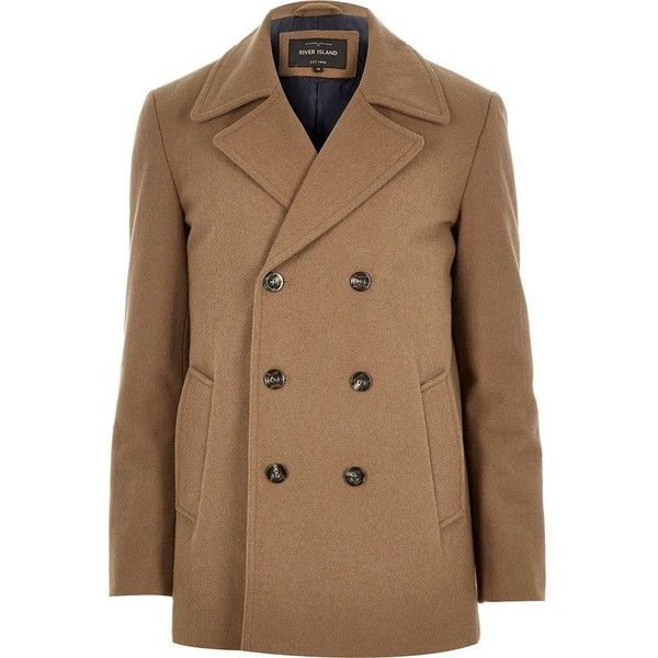 River Island Brown smart wool-blend peacoat (£72) ❤ liked on Polyvore featuring mens, men's clothing, men's outerwear, men's coats, brown and coats