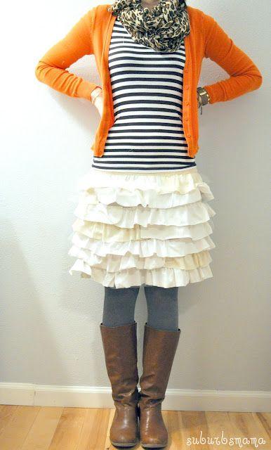 ruffle skirt:): Ruffles Skirts, Skirts Tutorials, Ruffled Skirts, Diy Ruffles, Old Shirts, Suburb Mama, Ruffle Skirt, Tshirt, Old T Shirts