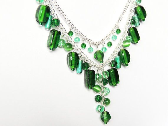 Green & Silver beaded necklace by CathsCraftCreations on Etsy, $17.50