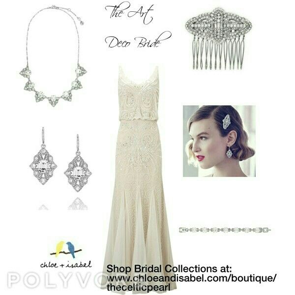 Wedding with Chloe + Isabel Look 3: The Art Deco Bride Shop all bridal online at: www.chloeandisabel.com/boutique/thecelticpearl    #wedding #bride #bridal #bridalparty #bridesmaids #maidofhonor #motherofthebride #motherofthegroom #groom #groomsmen #gifts #marriage #Ido #tietheknot #bigday #specialday #jewelry #fashion #accessories #hair #hairpieces #cufflinks #tiebars #style #shopping #trendy #boutique #chloeandisabel #thecelticpearl