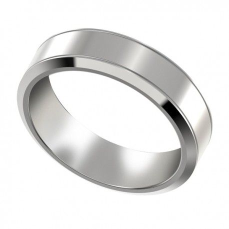 Mens Platinum Wedding Band With Beveled Edges At Exceptional Pricing