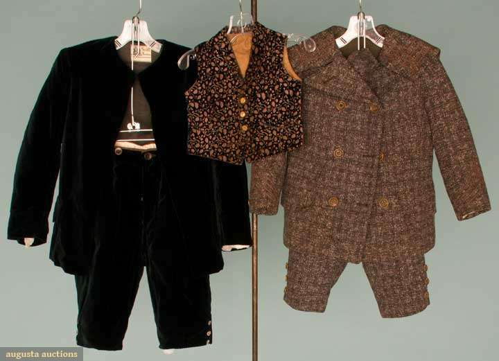 "TWO LITTLE BOYS' SUITS, 1880s  Both 2-piece: 1 grey tweed, CH 26"", W 20"", Inseam 7"", Jacket L 17""; 1 dark teal corded velvet w/ London label, CH 28"", W 26"", Inseam 8"", Jacket L 19"", both excellent; t/w 1 mid 19th C printed & voided velvet toddler's vest, very good."