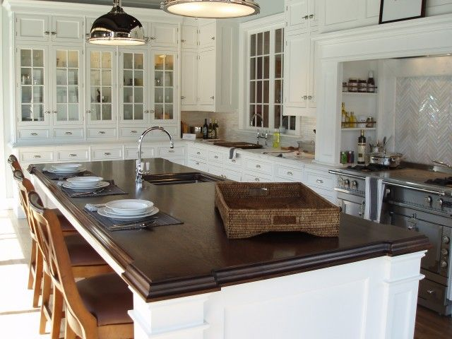 terrific wood countertop white kitchen island | 3317 best images about 2014 Kitchen Inspiration on ...