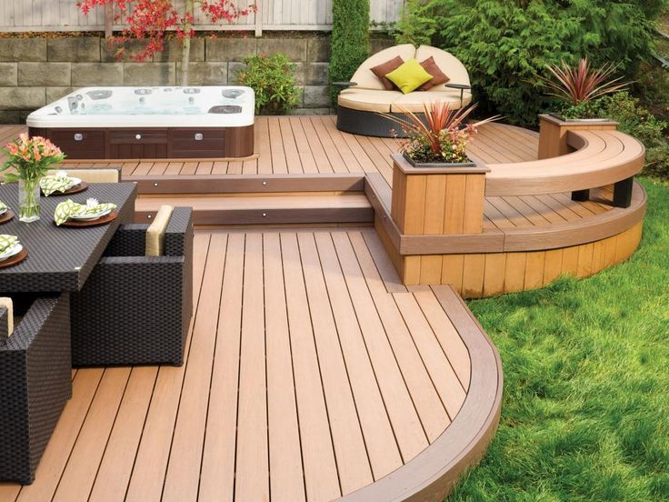 Among the many new trends in deck design are multi-level decks for different activities, finished decks which increase your outdoor entertaining options and decks with added water features like this versatile design from AZEK which includes a spa pool and is available in different colors and grain textures.