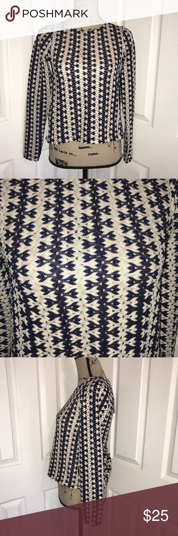 """Zara NWT open back long sleeve top Navy blue and cream long sleeve Blouse.  Crocheted like pattern.  Open back.  100% polyester.  Armpit to armpit 15"""", length 19"""", flat.  Made by Zara.  Size small. Zara Tops Blouses"""