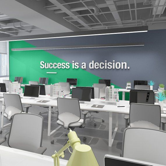 Success Is A Decision Office Wall Art Decor 3d Pvc Etsy Office Wall Design Innovative Office Office Wall Graphics