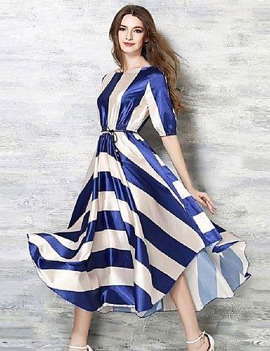 De las mujeres Línea A Vestido Fiesta A Rayas Maxi Escote Redondo Poliéster 3972561 2017 – $22.99