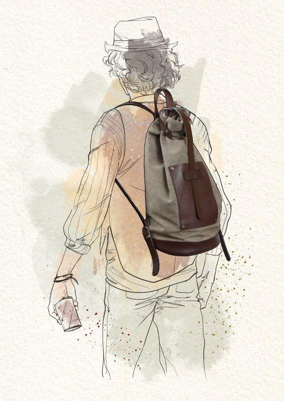 GENUINE Dark Brown LEATHER BACKPACK  Sandy canvas by ElMato