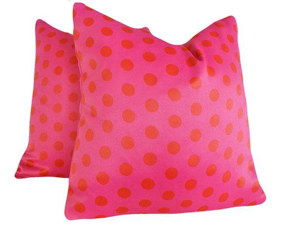 HOT Pink Throw Pillows For Teen Dorm Decor 18 X18. $29.00, Via Etsy.