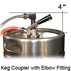 Keg coupler with elbow fitting