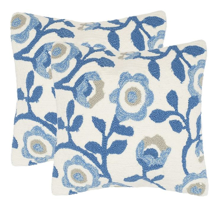 Safavieh 2-piece Provence Floral Outdoor Throw Pillow Set, Blue