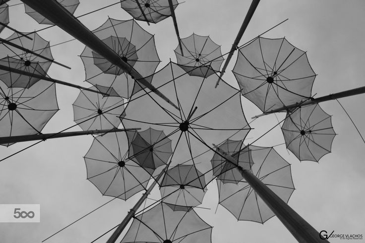 A shot under the umbrellas sculpture at the waterfront of Thessaloniki, Greece.