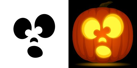 Surprised pumpkin carving stencil. Free PDF pattern to download and print at http://pumpkinstencils.org/download/surprised-pumpkin-stencil/