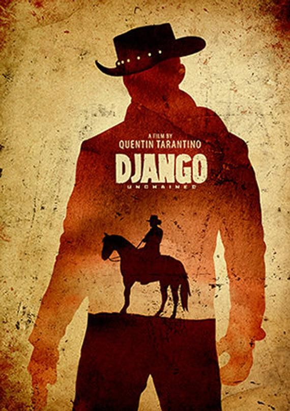Quentin Tarantino Django Unchained Minimalist Movie Poster, Tarantino Artwork, Vintage Movie Poster