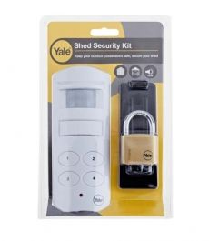 Shed Alarm Kit just £19.47 + VAT Shed Kit 1  Kit to secure sheds, garages or out buildings. Pack contains: 1 X PIR Siren alarm with keypad. 1 X 40mm Brass padlock and hasp.
