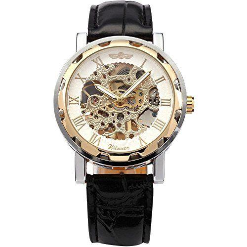 OrrOrr Winner - Herrenuhr - Automatik Uhr - Leder armbanduhr - weiß & Gold