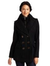 Miss Sixty Womens Missy Double Breasted Knit Collar Pea Coat