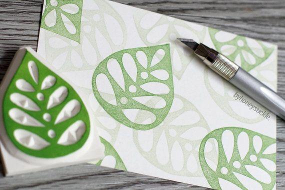 hojas sello, sello de goma de la hoja, gran sello, sello tallado a mano, sello…