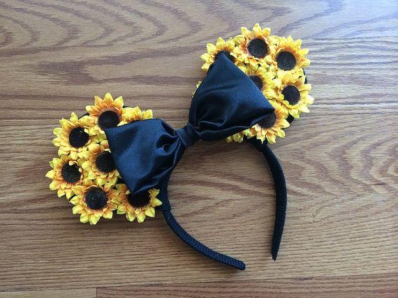 Sunflower Ears  Custom Floral Minnie Mouse Ears by MagicalEars, $19.95