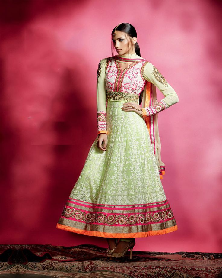 Elegant soft light green suit in net.Neon pink,orange and gold border.Gold Zari,thread embroidery and kundan establishments.