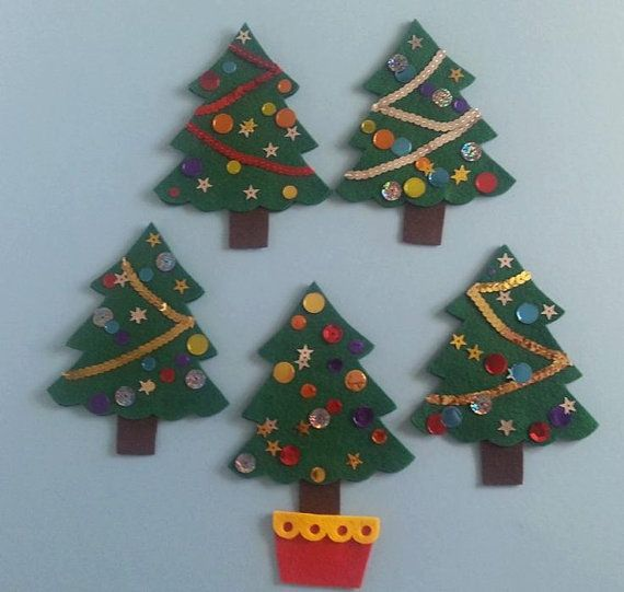 Five Little Christmas Trees Felt Board Set by FeltBoardMagic