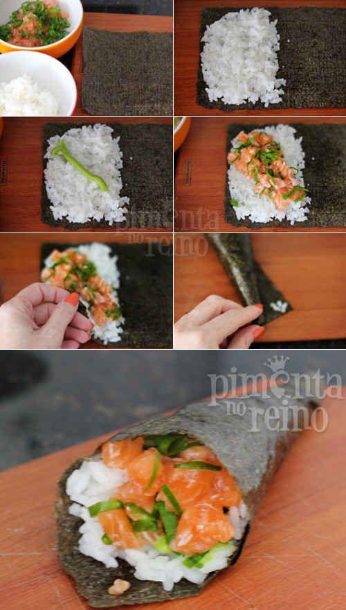 Temaki de salmão.                                                                                                                                                                                 Mais