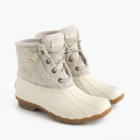 cream Sperry winter boots