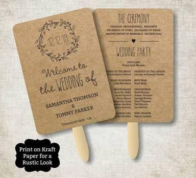 Vintage Wedding Program Fan template, Rustic Kraft Classic Wreath Foldable Wedding Program, Instant Download wedding program template