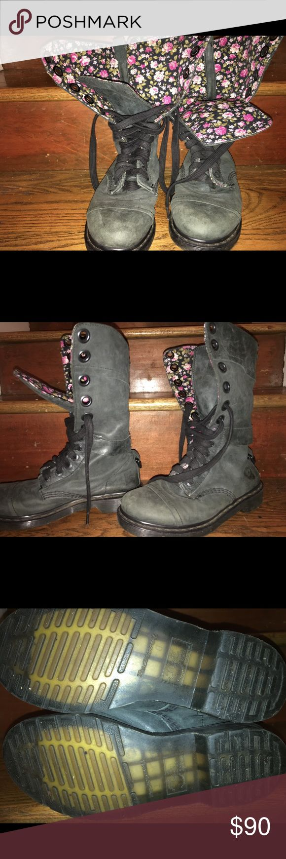 Dr. Martin boots with floral lining Dusty black Dr. Martin with vibrant floral lining inside. Can be worn all laced up, hiding the floral design, or folded over to show it off.  These shoes have only been worn a few times and are in excellent condition! Dr. Martens Shoes Combat & Moto Boots