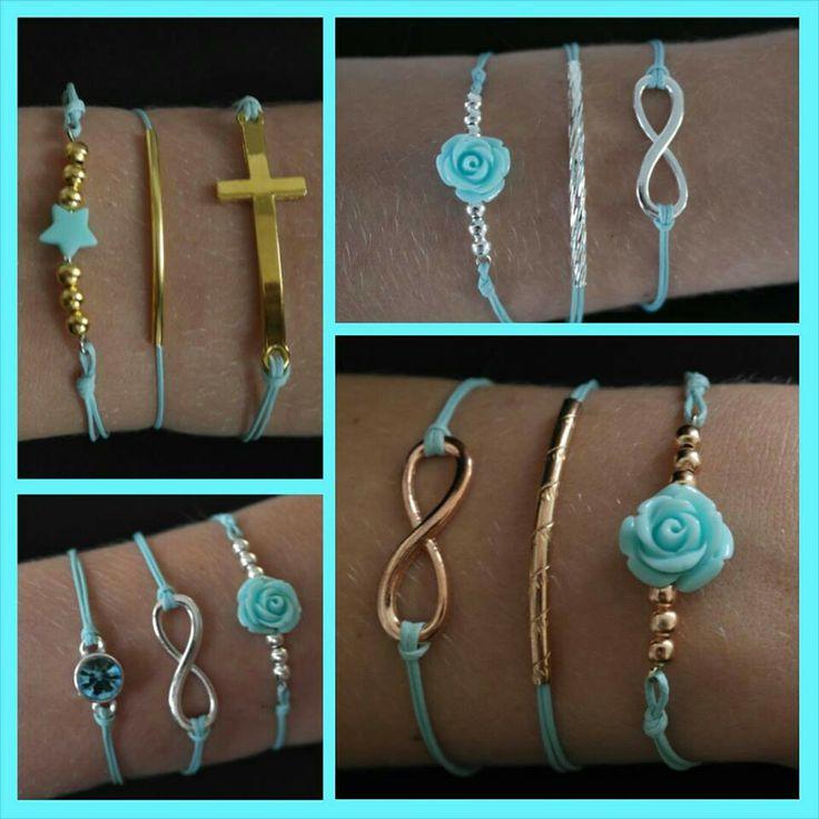 Leuke blauwe armbanden met zilver-, rosé goud- of goudkleurige accessoires.