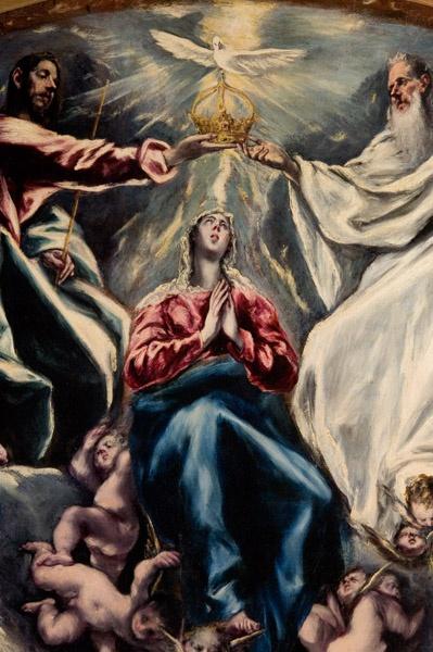 """Título: """" LA CORONACIÓN DE LA VIRGEN"""". Fué pintada en 1603 por mediación del hijo del Greco en su último período toledano para la Capilla Mayor del Hospital de la Caridad de Illescas  (Toledo). Es de técnica de óleo sobre lienzo. Dimensiones: 163 x 220 cm."""