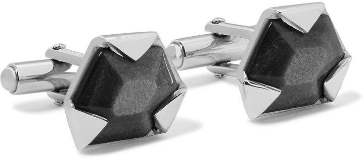 Lanvin Silver-Tone Obsidian Cufflinks