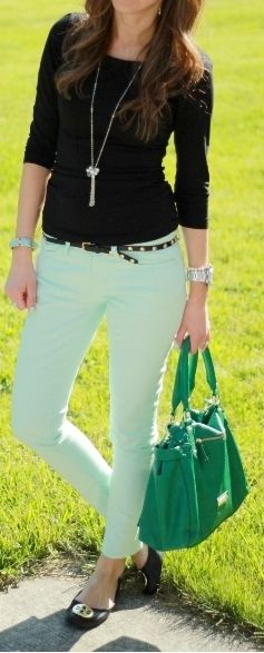 Outfit Posts: outfit post: black crepe shirt, mint cropped jeans, black flats