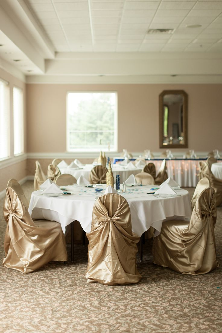 Reception Hall Wedding Decorations  gold universal satin chair cover- by Simply Elegant Chair Covers & Linen